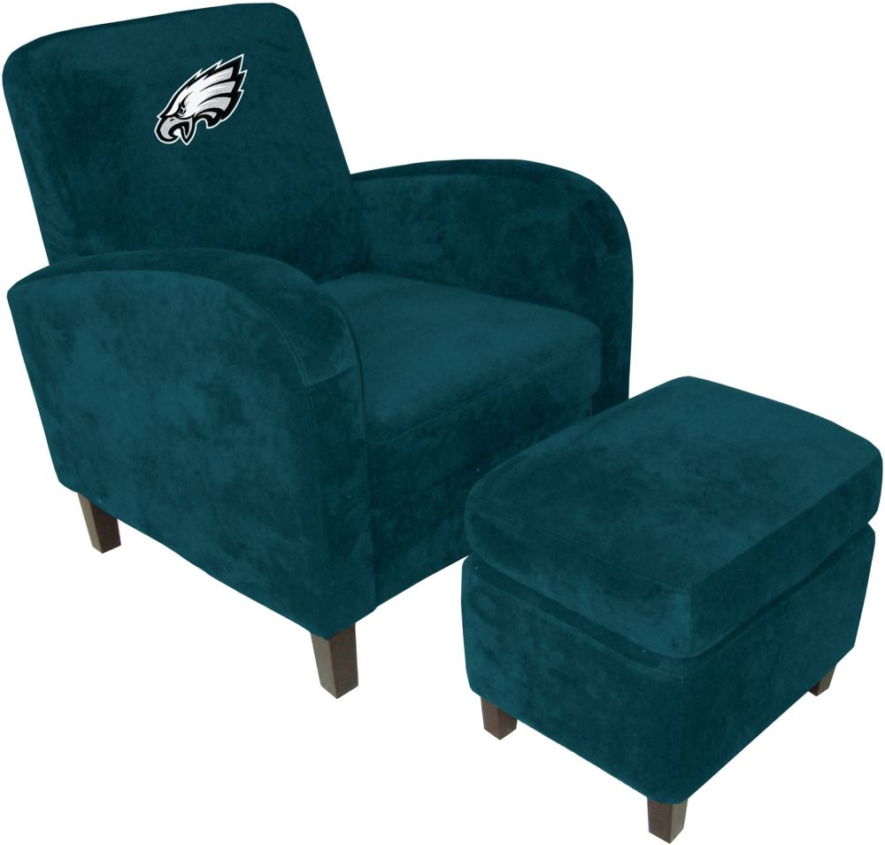 philadelphia eagles chair ergonomic and desk nfl den with ottoman sofa recliners home theater leather sofas video