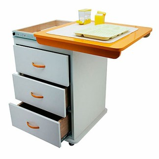 Assistant's Cabinet Cart With Multi-Functional Drawers & Wheels - Orange