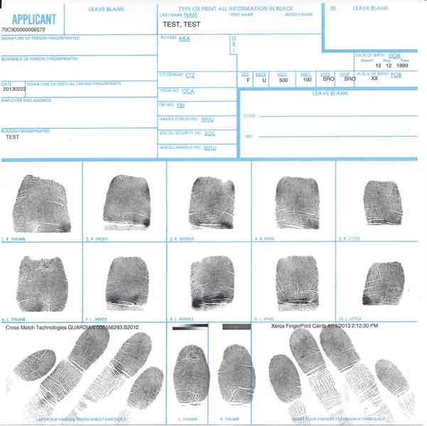 FBI Ink fingerprinting