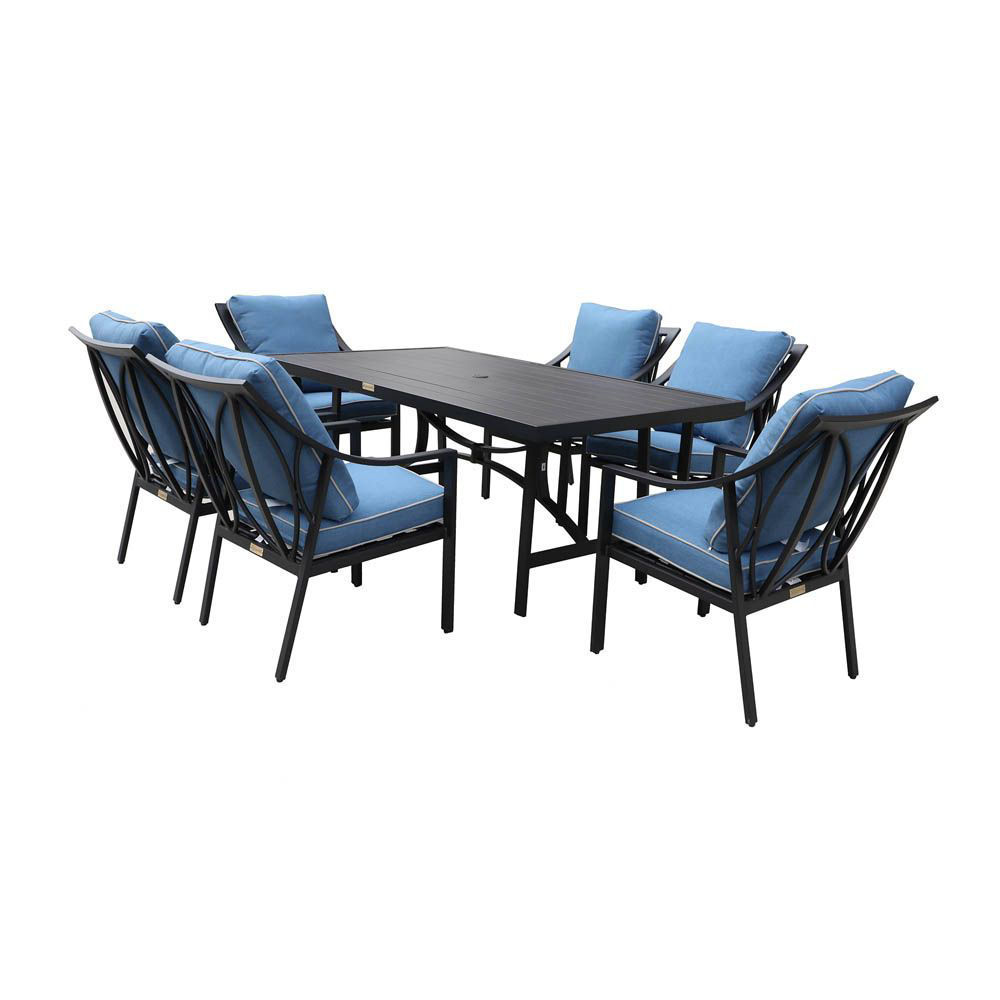 geneva outdoor 7 piece dining set with six arm chairs