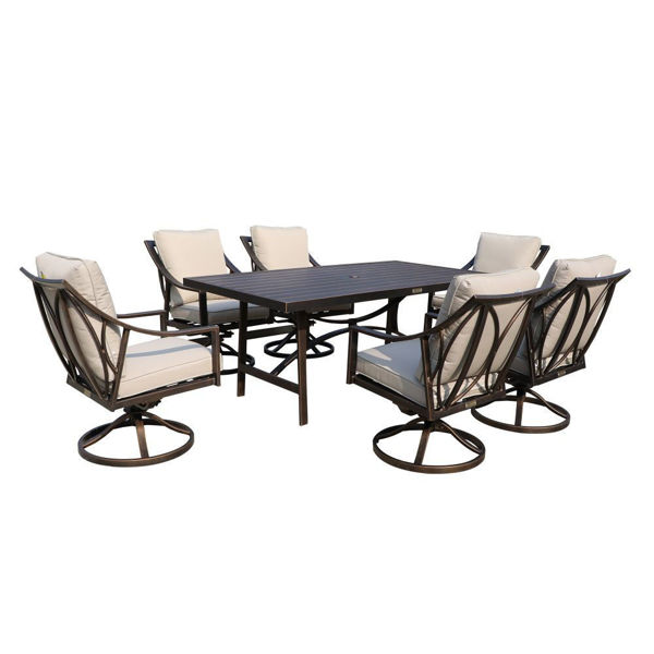 aspen outdoor dining set with six swivel chairs