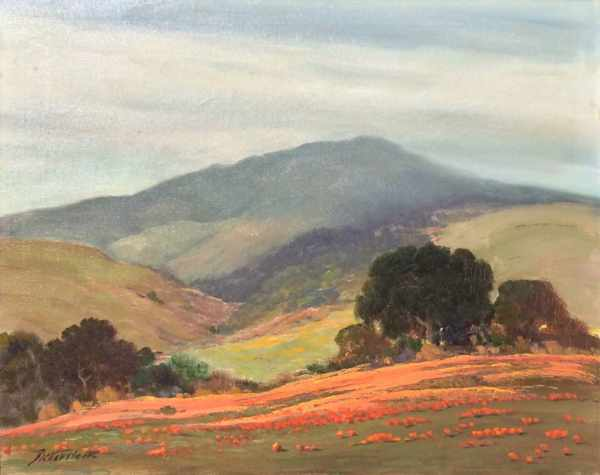 Untitled California Landscape With Oaks And Poppies
