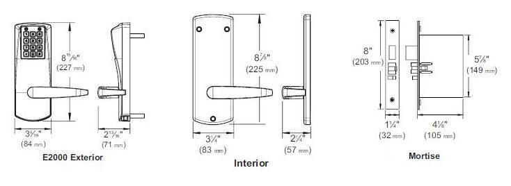 Kaba Eplex E2067-XS-LL-626-41 Mortise Keyless Lock, Satin