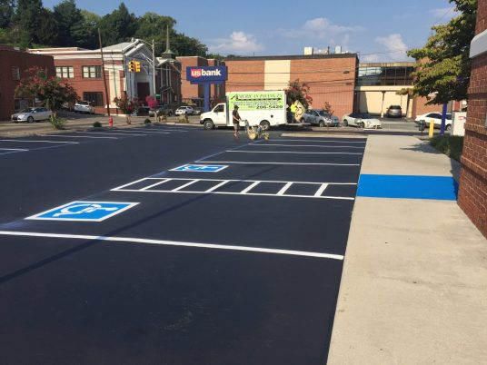Parking Lot Striping With ADA Compliant Stalls