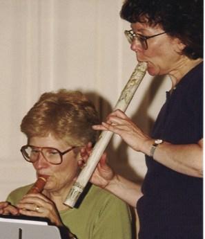 Charlotte and Rebecca play soprano and alto pipes