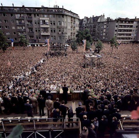President Kennedy addresses Berlin citizens, 6-26-1962 (photographer unidentified)