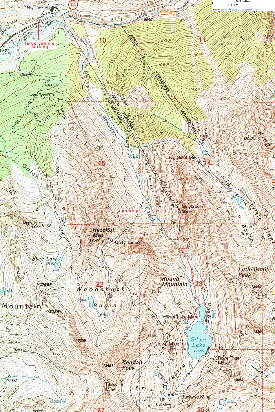 Topographic Map of Arrastra Basin San Juan Mountains Colorado