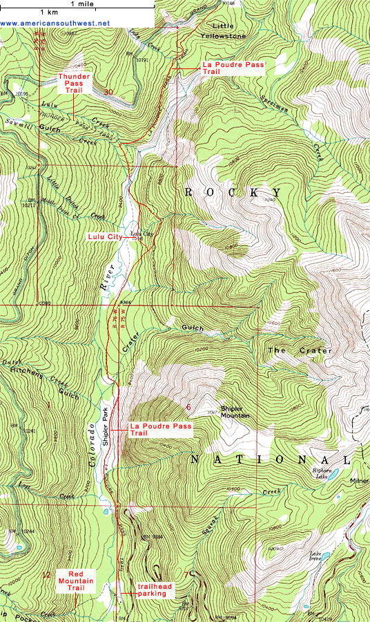 Topographic Map of the La Poudre Pass Trail Rocky