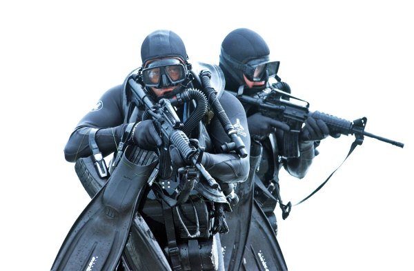Navy Seal Divers Wearing Wetsuits