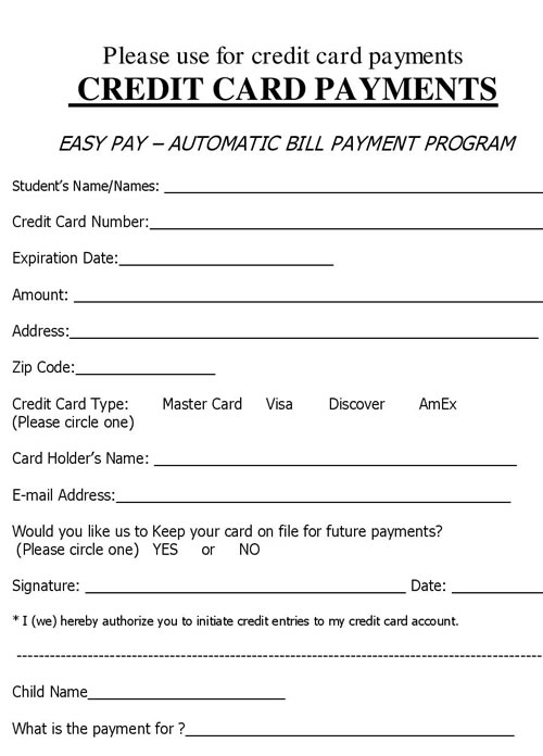 Form Automatic Bank Debit Authorization