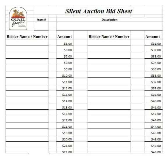 21+ Silent Auction Bid Sheets Free Download [Word, Excel] 2019