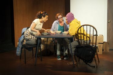 """""""1 2 3"""" by Lila Rose Kaplan, at San Francisco Playhouse through Sept. 5. Pictured: Jeremy Kahn, Jessica Bates, and Tristan Cunningham. (Photo by Fei Cai)"""