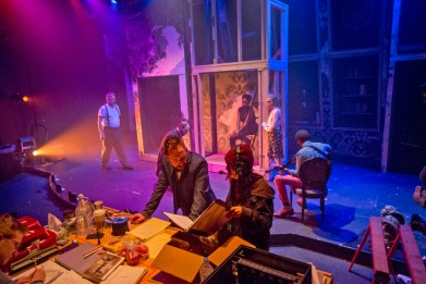 """""""10 Out Of 12"""" by Anne Washburn, at Theater Wit in Chicago through April 23. Pictured: Shane Kenyon, Dado, Stephen Walker, Kyle Gibson, Eunice Woods, Christine Vrem-Ydstie, and Gregory Fenner. (Photo by Charles Osgood)"""