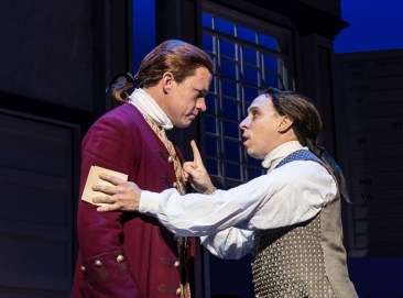 """1776,"" by Sherman Edwards and Peter Stone, at Virginia Repertory Theatre in Richmond, Va., in 2016. Pictured: Landon Nagel (Thomas Jefferson) and Scott Wichmann (John Adams). (Photo by Aaron Sutten)"