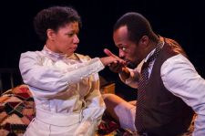 Ayanna Berksihire and Vin Shambry in Lynn Nottage's INTIMATE APPAREL, running at Artists Repertory Theatre in Portland, Ore. through Oct. 5 (photo by Owen Carey)