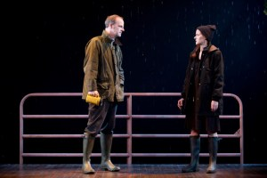 """Brian O'Byrne and Debra Messing in """"Outside Mullingar"""" at Manhattan Theatre Club (photo by Joan Marcus)"""
