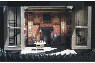 """Romeo and Juliet,"" Actors Theatre of Louisville, 1994, 1/4'' model. The shop did not have a scene painter so the canvas for the flats was sent to New Haven where Ru-Jun Wang, a master scenic artist trained at the Central Academy of Drama in Beijing, executed the design and sent it back to Louisville to be reassembled."