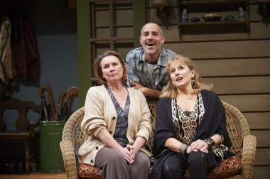 "Sheila McKenna, Harry Bouvy and Helena Ruoti in ""Vanya and Sonia and Masha and Spike"" at the City Theatre of Pittsburgh (photo by Alex Jones)"