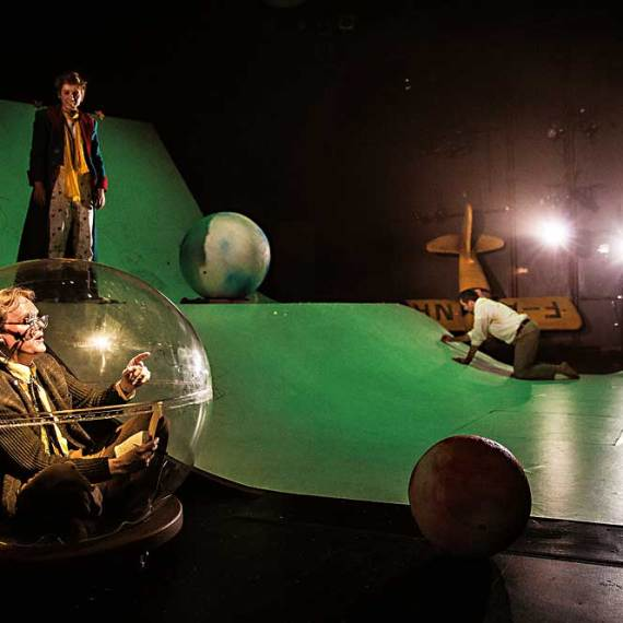 "Raymond Fox, Amelia Hefferon and Ian Barford in ""The Little Prince"" at Lookingglass Theatre. (Photo by Liz Lauren)"