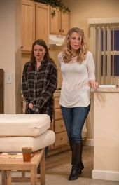 """The Commons of Pensacola"" by Amanda Peet, running at the Northlight Theatre in Skokie, Illinois through Oct. 19: with Leah Karpel and Luisa Strus (photo by Michael Brosilow)"