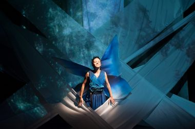 """The Night Fairy,"" adapted by John Glore from the book by Laura Amy Schlitz and running at Imagination Stage in Bethesda, Md. through Oct. 26; pictured: Tia Shearer in (photo by Margot Schulman)"
