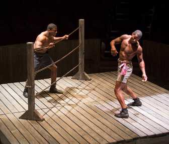 """The Royale"" by Marco Ramirez, at the Old Globe in San Diego through Nov. 2; pictured: Okieriete Onaodowan and Robert Christopher Riley (photo by Jim Cox)"