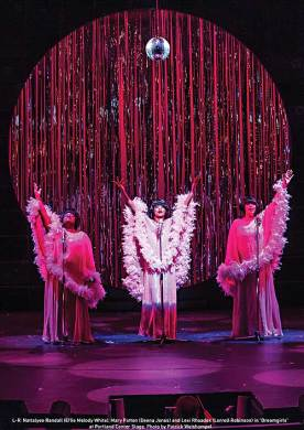 """""""Dreamgirls"""" by Tom Eyen and Henry Krieger, at Portland Center Stage in Portland, Ore. through Nov. 2; pictured: Nattalyee Randall, Mary Patton and Lexi Rhoades (photo by Patrick Weishampel)"""