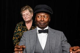 """""""Driving Miss Daisy"""" by Alfred Uhry, at Performance Network Theatre in Ann Arbor, Mich. through Oct. 26; pictured: Nancy Kammer and James Bowen (photo by Sean Carter)"""
