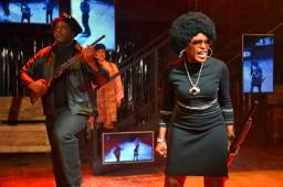"""""""Party People"""" by Universes, at Berkeley Repertory Theatre through Nov. 23; pictured: J. Bernard Calloway, Mildred Ruiz-Sapp and Kelly C. Wright. (Photo by Kevin Berne)"""