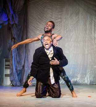 """""""The Tempest"""" by William Shakespeare, at African-American Shakespeare Co. in San Francisco through Nov. 9; pictured: Michael Wayne Turner and Michael Gene Sullivan (photo by Lance Huntley)"""