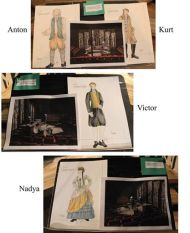 """The Gravedigger: a Frankenstein Story"" by Joseph Zettelmaier, running at Williamston Theatre in Williamston, Mich. through Nov. 2; pictured, costume sketches by Karen Kangas-Preston and set renderings by Kirk A Domer for"