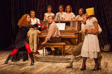 """The cast of Fiasco Theater's """"Into the Woods"""" at the Old Globe (photo by Jim Cox)"""