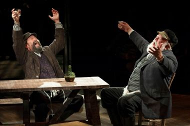 """""""Fiddler on the Roof"""" by Joseph Stein, Jerry Bock and Sheldon Harnick, at Arena Stage in Washington, D.C. through Jan. 4, 2015; pictured: Jonathan Hadary and Erick Devine (photo by Margot Schulman)"""
