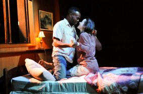 """""""You Got Older"""" by Clare Barron, a Page 73 production at HERE Arts Center in New York City in 2015. Pictured: William Jackson Harper and Brooke Bloom."""