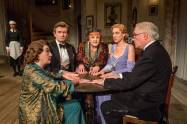 """Blithe Spirit"" by Noel Coward, at the Ahmanson Theatre in Los Angeles through Jan. 18. Pictured: Susan Louise O'Connor, Sandra Shipley, Charles Edwards, Angela Lansbury, Charlotte Parry and Simon Jones. (Photo by Joan Marcus)"