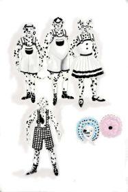 Connie Furr Soloman's costume sketches for the Dalmatian puppies.