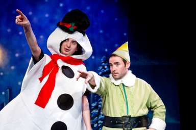 """""""Murray the Elf and the Case of the Stolen Sleighbells"""" by Bill D'Agostino and Carrie Nielsen, at Act II Playhouse in Ambler, Pa., through Dec. 28. Pictured: Will Dennis and Andy Shaw."""