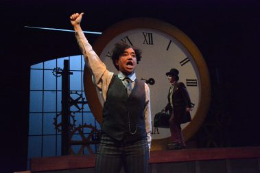"""""""Around the World in 80 Days,"""" adapted by Toby Hulse from Jules Verne, a Marin Theatre Company production touring area schools through Feb. 9. Pictured: Rami Margron and Cassidy Brown."""