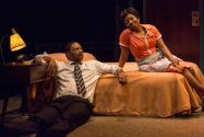"""The Mountaintop"" by Katori Hall, a production of the Indiana Repertory Theatre in Indianapolis in 2014. Pictured: David Alan Anderson and Tracey N. Bonner. (Photo by Zach Rosing)"