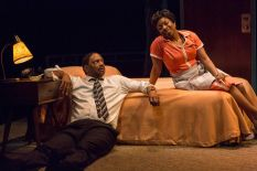"""""""The Mountaintop"""" by Katori Hall, a production of the Indiana Repertory Theatre in Indianapolis in 2014. Pictured: David Alan Anderson and Tracey N. Bonner. (Photo by Zach Rosing)"""