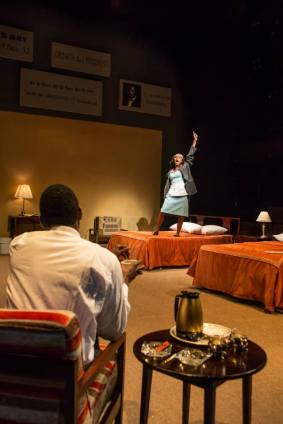 """The Mountaintop"" by Katori Hall, a coproduction of Playmakers Repertory Theater in Chapel Hill, N.C. and Triad Stage in Greensboro, N.C. in 2013. Pictured: Cedric Mays and Lakisha May. (Photo by VanderVeen Photographers)"