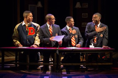 """Choir Boy"" by Tarell Alvin McCraney, at Studio Theatre in Washington, D.C. through Feb. 22. Pictured: Jaysen Wright, Jonathan Burke, Eric Lockley and Jelani Alladin. (Photo by Igor Dmitry)"