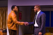 """""""One Night in Miami..."""" by Kemp Powers, at Center Stage in Baltimore through Feb. 8. Pictured: Grasan Kingsberry and Tory Andrus. (Photo by Richard Anderson)"""