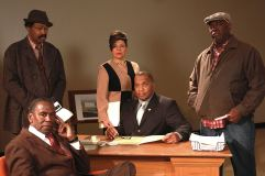 """Radio Golf"" by August Wilson, at the American Stage Theatre in St. Petersburg, Fla., through Feb. 22. Pictured: Kim Sullivan, Back: Anthony Chisholm, Chrystal Bates, Alan Bomar Jones and ""ranney."" (Photos by Chad Jacobs)"