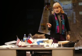 """Red Hot Patriot: The Kick-Ass Wit of Molly Ivins"" by Margaret Engel and Allison Engel, at Lyric Stage Company of Boston through Jan. 31. Pictured: Karen MacDonald. (Photo by Jessica Rinaldi/Boston Globe)"