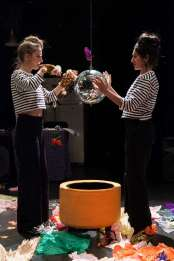 """""""Reread Another A Play To Be Played Indoors or Out Wish to Be a School,"""" adapted by Target Margin from Gertrude Stein, at the Bushwick Starr in Brooklyn, NY, through Feb. 7. Pictured: Clare Barron and Purva Bedi."""