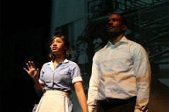 """""""The Mountaintop"""" by Katori Hall, a production of Perseverance Theatre running in Juneau, Alaska in 2015. Pictured: Liz Morgan and Michael Flood."""