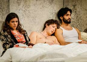"""""""Threesome"""" by Yussef El Guindi, at Portland Center Stage in Portland, Ore., through Mar. 8. Pictured: Alia Attallah, Quinn Franzen and Dominic Rains. (Photo by Patrick Weishampel/BLANKEYE)"""