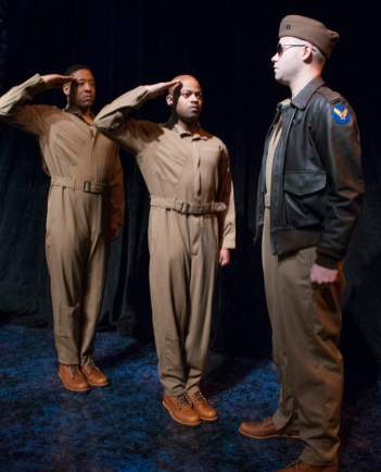 """""""Fly"""" by Trey Ellis and Ricardo Khan, at Florida Studio Theatre in Sarasota, Fla., through Apr. 4. Pictured: Terrell Wheeler, Shane Taylor and Greg Brostrom. (Photo by Maria Lyle)"""