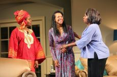 """""""Familiar"""" by Danai Gurira, at Yale Repertory Theatre in New Haven, Conn., through Feb. 21. Pictured: Pictured: Kimberly Scott, Cherise Boothe and Saidah Arrika Ekulona."""
